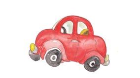 Красный автомобиль акварели Стоковое фото RF