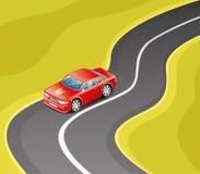 Красный автомобиль на дороге иллюстрация вектора