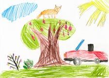 Красный автомобиль на glade дети рисуя гору дома Стоковые Фото