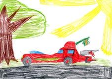 Красный автомобиль на glade дети рисуя гору дома Стоковые Изображения