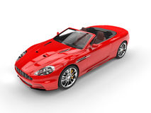 Красный автомобиль с откидным верхом резвится автомобильное взгляд сверху Стоковая Фотография RF
