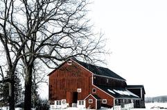 Красный амбар в зиме со снегом стоковое фото rf
