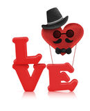 Красный алфавит влюбленности и воздушный шар сердца ткани Стоковые Фотографии RF