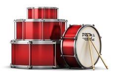 Красный барабанчик установленный с drumsticks иллюстрация штока