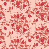 Красный безшовный винтажный цветочный узор иллюстрация вектора