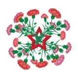 Красный букет гвоздики с лентой St. George и советская звезда к приветствию торжества национального праздника дня победы 9-ое мая стоковые фото