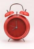 Красный будильник, изображение конца поднимающее вверх Стоковые Изображения RF