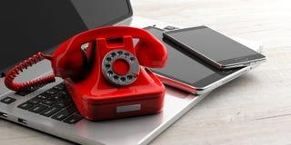 Красный винтажный телефон и современные elctronic приборы на деревянной предпосылке иллюстрация 3d иллюстрация вектора