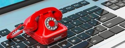 Красный винтажный телефон на клавиатуре компьютера иллюстрация 3d иллюстрация вектора