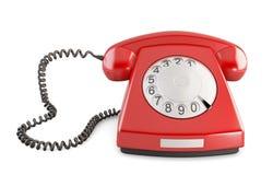 Красный винтажный телефон на белой предпосылке Вид спереди Стоковые Изображения RF