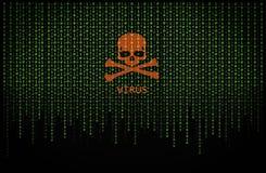 Красный вирус черепа на компьютерном коде двоичной вычислительной машины стоковые изображения