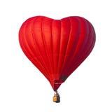Красный воздушный шар в форме сердца изолированного на белой предпосылке Стоковые Фотографии RF