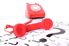 Красный вопрос о телефона Стоковое Изображение