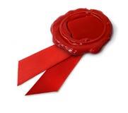красный воск уплотнения тесемок Стоковое Изображение