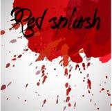 Красный выплеск акварели заголовка Иллюстрация штока