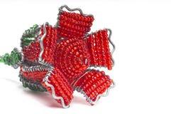 Красный вышитый бисером конец розы вверх от стороны Стоковое Изображение