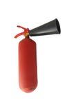 Красный гаситель металла с поцарапанной краской стоковая фотография rf