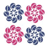 Красный голубой вектор цветков Хороший для логотипа, графического дизайна, картин, значков, шаблона свадьбы, органической концепц иллюстрация вектора