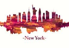 Горизонт Нью-Йорка в красном цвете иллюстрация штока