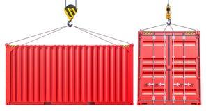 Красный грузовой контейнер доставки с крюком бесплатная иллюстрация