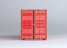 Красный грузовой контейнер на серой предпосылке бесплатная иллюстрация