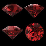 Красный диамант на черноте Стоковые Изображения