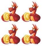 Красный дракон защищает символы различных валют Доллар, евро, иллюстрация вектора
