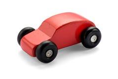 Красный деревянный автомобиль игрушки Стоковое Изображение