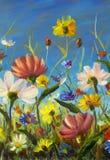 Красный, желтый, голубой, фиолетовый конспект цветет иллюстрация Картина impasto макроса Художественное произведение ножа палитры Стоковые Изображения