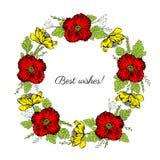 Красный, желтый мак цветет, венок листьев флористический изолированный на белой предпосылке, круглой эскиз вектора рамки руке нар Стоковая Фотография RF