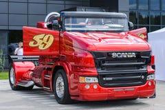 Красный жемчуг Scania R999 стоковое изображение