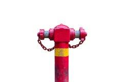 Красный жидкостный огнетушитель с цепью, изолированной белой предпосылкой Стоковое фото RF
