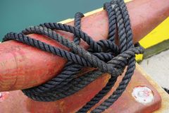 Красный зажим гавани в оболочке в черной завязанной веревочке стоковое фото