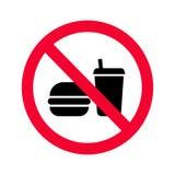 Красный запрет отсутствие еда или знак пить Никакие еда и запрещенный выпивать не поют иллюстрация штока