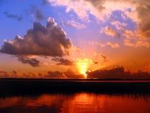 красный заход солнца Стоковые Изображения RF