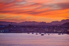 Красный заход солнца над Sharm El-Sheikh Стоковые Фото