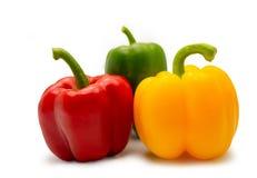 Красный зеленый и желтый сладостный болгарский перец стоковая фотография