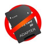 Красный знак запрета с переходником для карты мультимедиа памяти sd микро- Запретите прибор передачи данных пользы цифровой иллюстрация штока