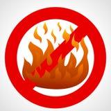 Красный знак запрета с пламенем огня иллюстрация вектора