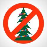 Красный знак запрета с рождественской елкой иллюстрация штока