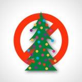 Красный знак запрета с рождественской елкой бесплатная иллюстрация