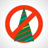 Красный знак запрета с рождественской елкой иллюстрация вектора