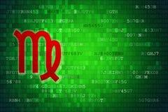 Красный знак зодиака Virgo на зеленой цифровой предпосылке скопируйте космос Стоковое Изображение