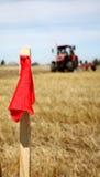 Красный знак на краю поля Стоковая Фотография RF