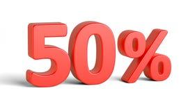 Красный знак процентов на белой предпосылке Стоковое фото RF