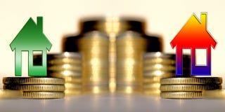 Красный знак процентов на предпосылке денег стоковая фотография