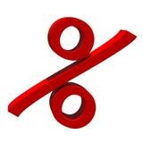 Красный знак процентов Стоковое Изображение