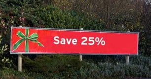 Красный знак продажи рождества сохраньте 25% с знака продажи Стоковое Изображение