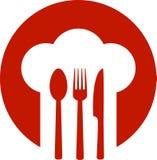 Красный знак с шляпой шеф-повара Стоковое Изображение