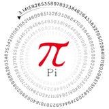 Красный знак pi и номер в спиральной форме Стоковое фото RF
